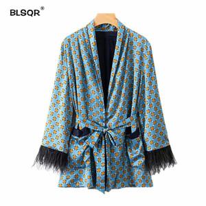 Women Vintage Print Loose Kimono Coat Bow Tie Sashes Pockets Tassel Decorate Outerwear Oversized 2018 Autumn Tops