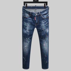 2020 Denim Jean Bordado Tigre Calças Buracos de New Style Marca D Homens D2 Jeans Zipper Men Calças Calças Jeans Skinny dos homens do desenhista