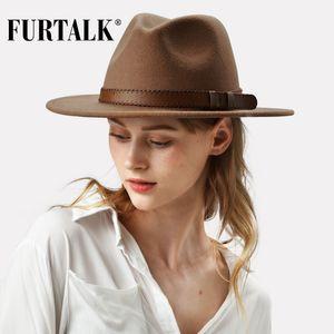 FURTALK% 100 Avustralya Yün Fedora Şapka Kadın Erkek Şapka Bayanlar Fedoras Geniş Brim Caz 2019 T200103 Şapka Vintage Sonbahar Kış Cap Keçe
