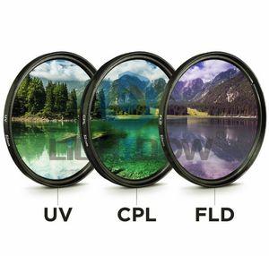 49MM 52MM 55MM 58MM 62MM 67MM 72MM 77MM УФ + CPL + FLD 3 в 1 Объективный фильтр с сумкой для объектива камеры Canon Nikon Sony Pentax