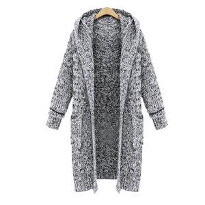 JODIMITTY Herbst-Winter-Batwing lange Hülsen-Strickwaren-Woll Frauen glatt gestrickten Pullover Taschenentwurf Strickjacke weiblichen Mantel