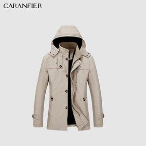 CARANFIER Marque 2018 Coton100% Mode Tranchée Longue Manteau Hommes Automne Kaki Coupe-Vent Slim Veste Style Casual Manteau