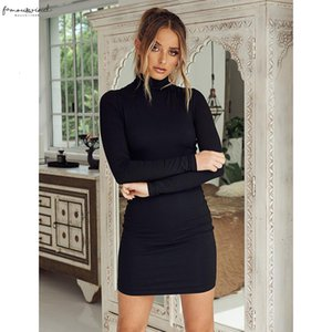 New Stand Collar Long Sleeve Solid Color Sexy Slim Hip Lantern Sleeve Dress Foundation Dress Drop Shipping