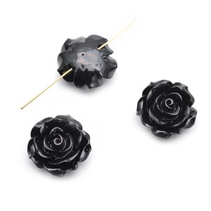 Los granos flojos de la flor plástica de la resina del color negro de 20m m cupieron la joyería de la moda que hace 300pc por la porción