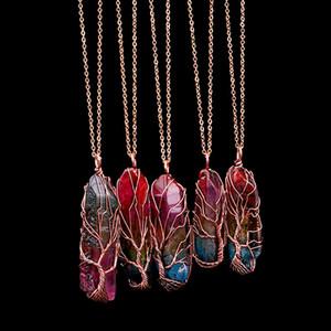 Handgemachte 7 Chakra Regenbogen Naturstein Baum des Lebens Anhänger Halskette Frauen Männer Opal Kristall lange Kette Statement Schmuck Geschenk