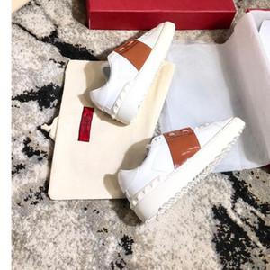 Männer Frauen Mode Luxus-Designer-Schuhe Weiß Lederspringgamaschen Sneaker mit blauem Band NY0S0830 BLU G62 Trainer-Turnschuhe mit Kasten c16