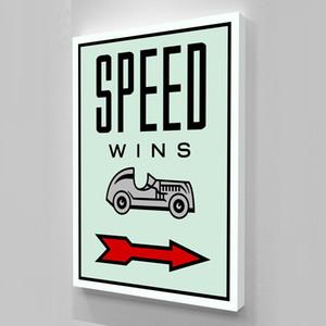 "Alec Monopoly ""SPEED WINS"" Home Decor Handbemalte HD-Druck-Ölgemälde auf Leinwand-Wand-Kunst-Leinwandbilder 200516"