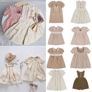 EnkeliBB APO Marka Çocuk Kız Yaz Pamuk Elbise Güzel Vintage Çocuk Elbise Kısa Kol Nakış Bebek Tutu Elbise