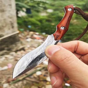 Oferta especial Damasco fija la manija del cuchillo de acero VG10 Damasco hoja de espiga completa del palo de rosa de madera Con vaina