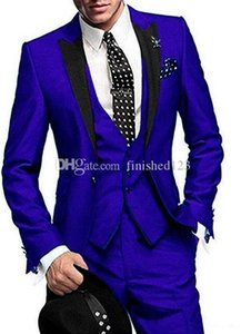 High Quality One Button Blue Wedding Groom Tuxedos Peak Lapel Groomsmen Men Formal Prom Suits (Jacket+Pants+Vest+Tie) W199