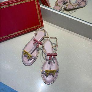 Hot slae women bowknot rhinestone flat sandals bradn design fashion narrow band summer sandals girl ankle buckle T-tied sandals
