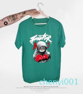 2018 New Arrival Mens T Shirt Boxing Cat Cartoon T Shirt Summer 3D Printed Short Sleeve Tees 12 Colors Unisex Couple Clothingt c01