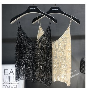 Cakucool Women Sexy Camisole Sequined Beading Shiny V neck Spaghetti All match chic mesh lace vintage tank top summer clothes