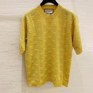cachemire tricoté à manches courtes de marque de mode haut de gamme des femmes de luxe rétro modèle de lettre de la laine t-shirt