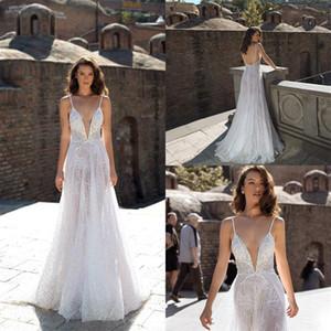 Gorgeous White Wedding Dresses A Line Lace Beading Spaghtiee Strap Dress Custom Made Sweep Train Vestidos De Novia