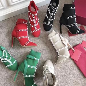 Hot Sale-chaussettes bottes cloutées stud nervuré tricot bottines cage chausson 105mm pour femme en cuir extensible garni chaussures à talons hauts de Noël