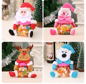 Feliz Navidad del caramelo tarro Patrón suerte de Navidad Papá Noel / muñeco de nieve / Elk / Bear azúcar Medias Caja de regalo de Año Nuevo Decoración