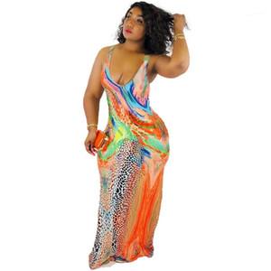 Vestido de impresión Femenino Verano Contraste Color Vestidos Para Mujer Designer Maxi Vestido Moda Scoop Cuello Sin mangas Leopardo