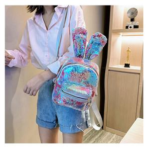 Lantejoula coelho mochila estrela esportes ao ar livre coloridos escola mochila de viagem stuff sacos forma do estudante do bebé sacos de armazenamento FFA2781