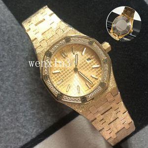 20 Couleur luxe Watch.33mmVK Quartz Diamant Watch.Top or rose plein de diamants femme montres scintillantes Boîtier en acier inoxydable Montre Femme Pour