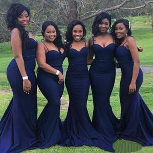 2020 Bridesmaid Dresses for Wedding Guest Party Cheap Spaghetti Straps Plus Size Formal Gowns for African Black Gir