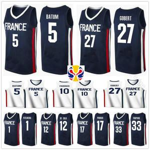2019 Dünya Kupası Takımı Fransa Basketbol Jersey Frank Ntilikina 1 Nicolas Batum 5 Rudy Göbert 27 Evan Fournier 10 Nando De Cole 12 Amath Mbaye