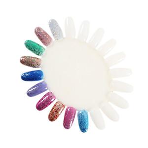 10 Stück / Set Tragbare polnische Farbtaf Nail Art Design Nails Aufkleber Praxis-Tipps anzeigen Palette Werkzeug DIY Maniküre