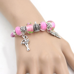 New Rose Bracelet en cuir rose en Murano Perle Chausson de danse danse Ballerina Bracelets pour les femmes filles Bijoux cadeau Pulsera