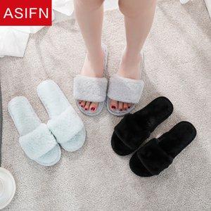 ASIFN fourrure Diapositives femmes Chaussons Antiderapant d'intérieur belles dames solides Tongs Femme élégante Femme Mules Chaussures