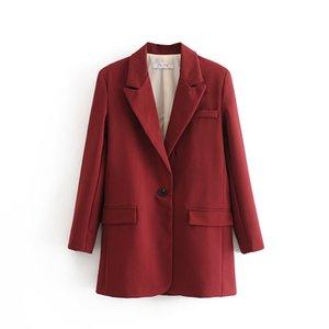 Zxqj mulheres elegantes soltas blazers 2020 moda senhoras vintage borgonha ternos jaqueta casual fêmea entalhado colarinho terno meninas chique