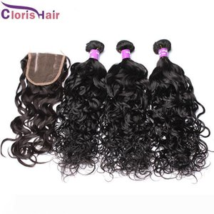 Charming Water Wave Malaysian Hair Wefts With Closure Wet And Wavy Human Hair Extensions Natural Curly Peruvian Weaves Closure 4 Bundles