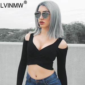 LVINMW Sexy Black Cotton Off Shoulder Long Sleeve T Shirt 2020 Summer Women V Neck Front Cross Slim Crop Top Female Party Club