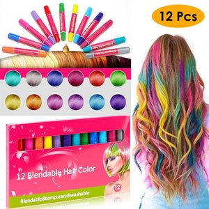 Temporary Pro Hair Dye12 Colors Mini Hair Chalks Crayons For Color Multicolor Day Comb Care Styling Tools * 5