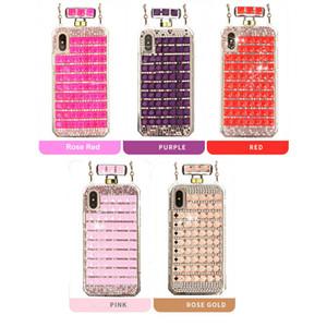 Caso de telefone de garrafa de perfume de diamante de rhinestone para o iphone 6 6s 7 8 mais tpu claro tiras de telefone inteligentes para o iphone xs max xr para