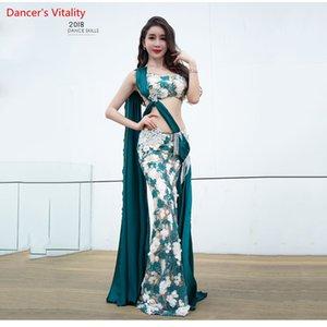 Custom Made Belly Dance Show Traje Mujeres 2018 Nueva Competencia de Cuentas de Seda Sujetador de Lujo + Traje de Falda de Cola Larga 2 unids