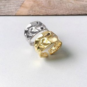 925 Sterling Silver Irregular Texture Rings Uneven Tin Foil Surface Thick Wide Rings for Women 925 Temperament Jewelry