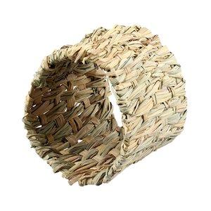 햄스터 고슴도치 햄스터 잔디 짠 해먹 작은 동물 공급에 대한 기니 돼지 케이지 잔디 짠 내구성 터널 장난감 침대