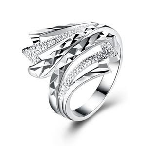 Anelli a fascia alla moda argento placcato irregolare geometria S925 anello d'argento elegante dea elegante progettato gioielli regali di natale POTALA902