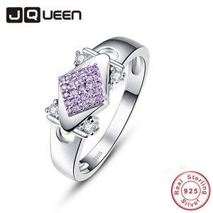 Großhandel Elegante Egagement Geometrische Kristall Frau Fingerring Natual Violet Stein 925 Sterling Silber Ring Partei Schmuck Geschenk
