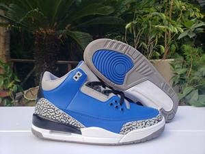 Pas cher 3 Varsity Royal Blue Hommes de basket-ball chaussures Trainer 3 s Ciment bleu en cuir gris Mens Sport Sneaker avec boîte CT8532-400