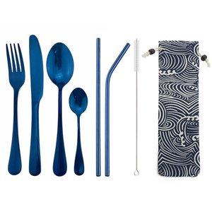 8pcs / Set Brillant Bleu Couverts de vaisselle en acier inoxydable Couverts portable avec sac Straws Argenterie Set Camping Voyage