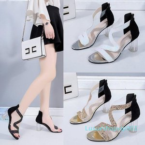 Pop2019 Toe Paillette High-heeled Shoes Sexy S Bring Black Transparent Coarse With Sandals Woman