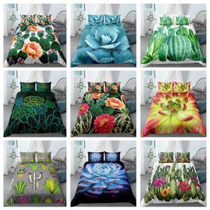 Кактус Сочные Постельные принадлежности Набор растений Листья и цветок пододеяльник наволочки 3D Printed Домашний текстиль