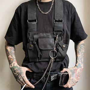Nuova maglia tattica Moda Uomo nero punk retrò moto Gilet Mens Hip Hop tasche Gilet Bundy Zaino High Street Tide