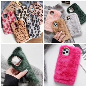 Grain Leopard coelho Genuine cabelo TPU suave para o iPhone 11 Pro Max XR XS X 8 7 6 animal Bling diamante Fofo Fur celular tampa bonito
