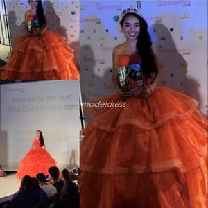 산호 공 가운 Quinceanera 드레스 2019 스위트 하트 티어드 비즈 달콤한 공식 파티 파티 가운 15 vestidos de quinceañera