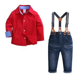 Kid Мальчик одежда Set 2PCS Красная рубашка Jean Pant Suit Outfit Возраст 2Т-7 Bib Общий длинным рукавом Детская одежда Осень французский манжета T200103
