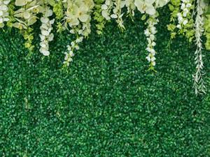Düğün Studio Props için Yeşil Çim Duvar Çiçek Dekorasyon Vinil Fotoğrafçılık Arka planında Gelin Duş Photo Booth Arka