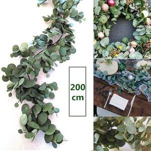 Falso 2m artificial plantas de eucalipto Garland de seda largo de la hoja de eucalipto Telón de fondo verde follaje de boda arco decoración de la pared