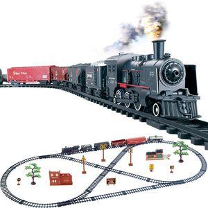 Simulação Clássica Vapor longo trem trens trilha elétrico de brinquedo para crianças Truck para meninos Railway Railroad Presente de aniversário